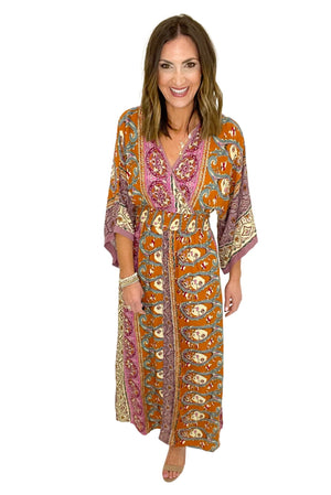 paisley print maxi dress with smocked waist, spring dresses, shop style your senses by mallory fitzsimmons