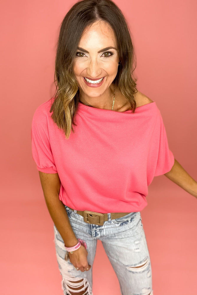 coral boat neck balloon sleeve top, distressed jeans, spring tops, affordable trends, shop style your senses by mallory fitzsimmons