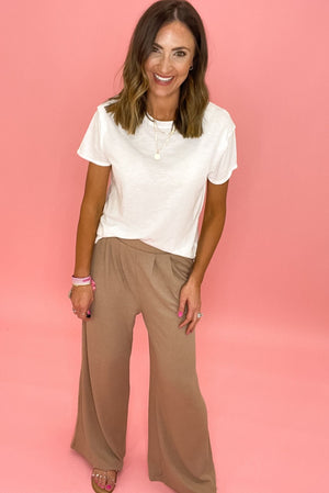 mauve ribbed wide leg pants, basic white tee, spring trends, shop style your senses by mallory fitzsimmons