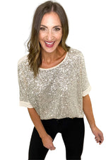 Gold Sequin V Back Short Sleeve Top