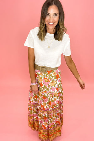 floral mixed pattern maxi skirt, white basic tee, spring trends, shop style your senses by mallory fitzsimmons