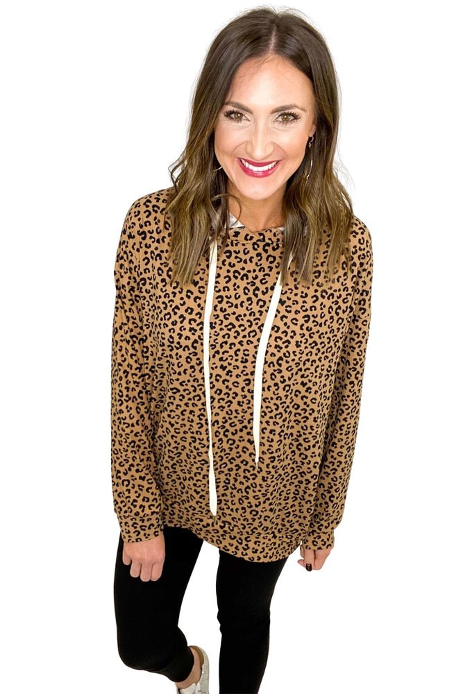 Toffee Animal Print Long Sleeve Hoodie