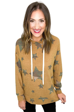 Load image into Gallery viewer, Brown Camo Star Print Hoodie