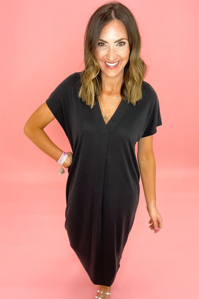black deep v short sleeve midi dress, spring dresses, affordable style, shop style your senses by mallory fitzsimmons