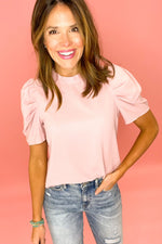 dusty mauve puff sleeve top with ruffle mock neck, distressed jeans, work to weekend, affordable style, shop style your senses by mallory fitzsimmons