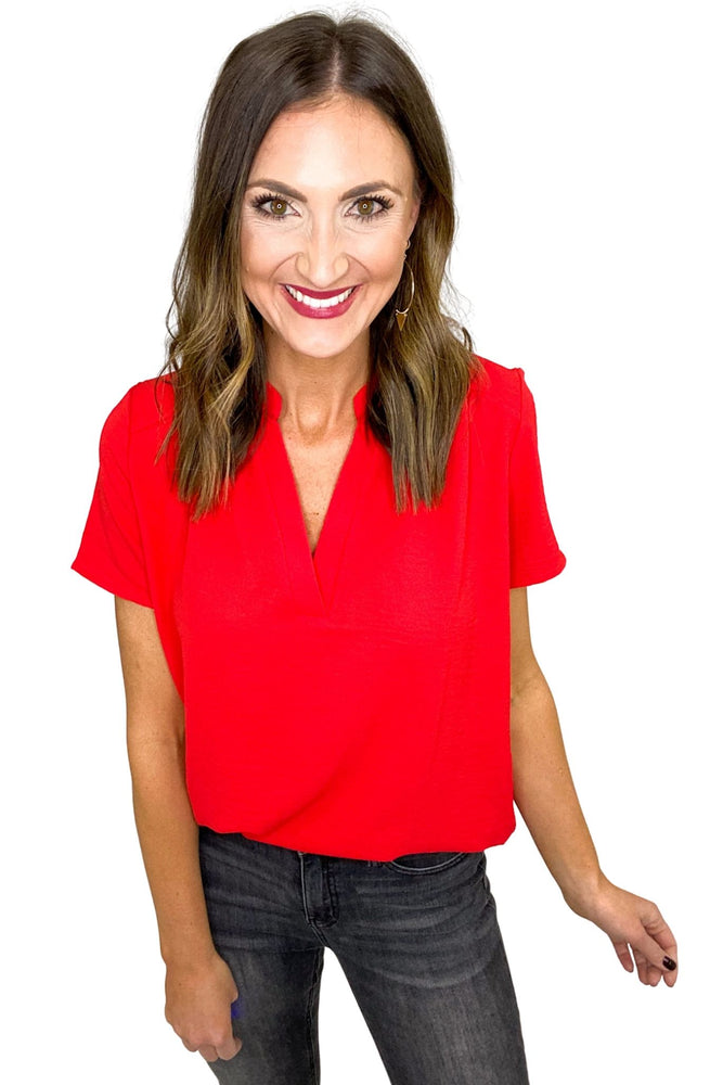 Load image into Gallery viewer, Red V Neck Short Sleeve Top
