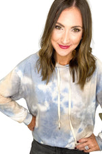Grey and Blue Tie Dye Hoodie