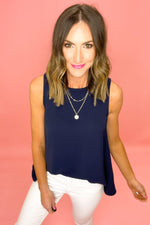 navy high low sleeveless top, white skinny jeans, spring tops, upstyled basics, shop style your senses by mallory fitzsimmons