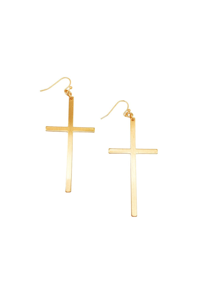 Load image into Gallery viewer, Gold Cross Dangle Earrings