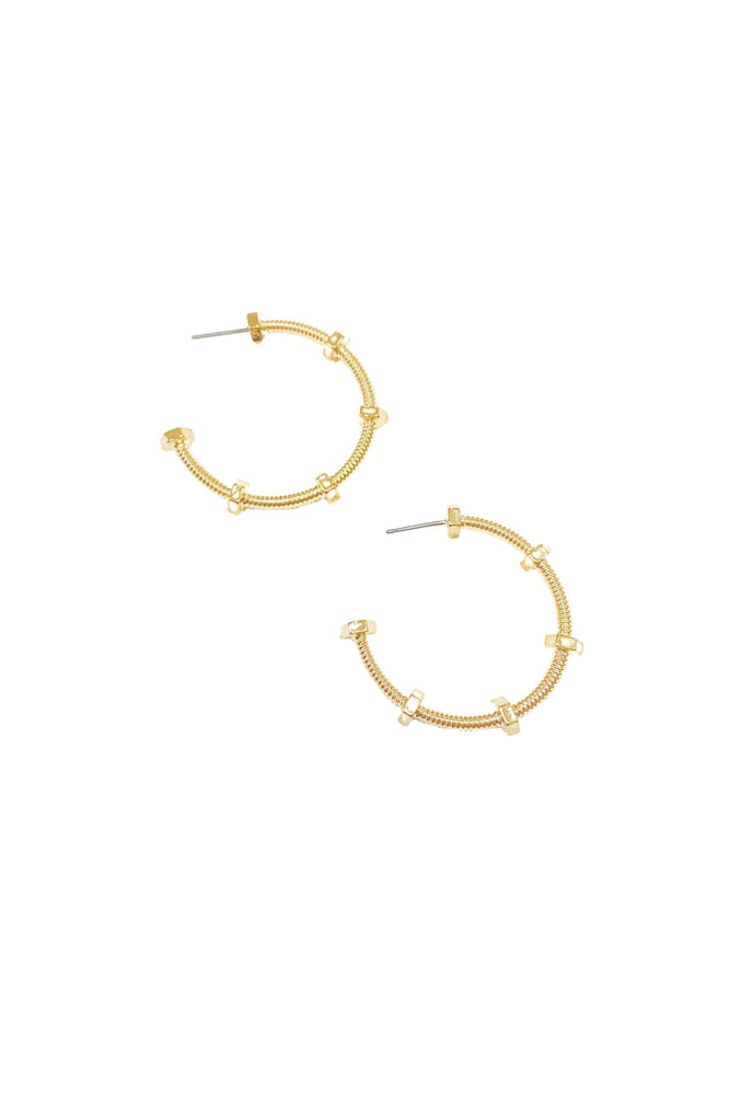 Load image into Gallery viewer, Gold Screw Hoop Earring