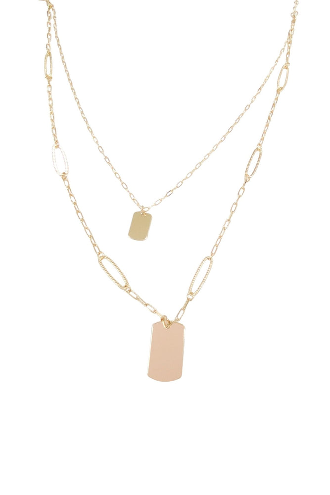 Gold Double Layer Dog Tag Necklace