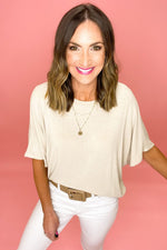 oatmeal oversized knit short sleeve top, white skinny jeans, affordable style, shop style your senses by mallory fitzsimmons