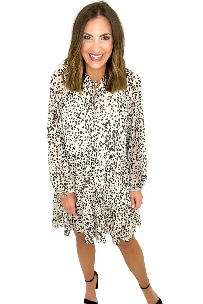 off white spotted long sleeve dress, animal paint, spring dresses, shop style your senses by mallory fitzsimmons