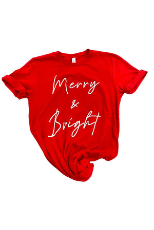 "Red ""Merry and Bright"" Graphic Tee"