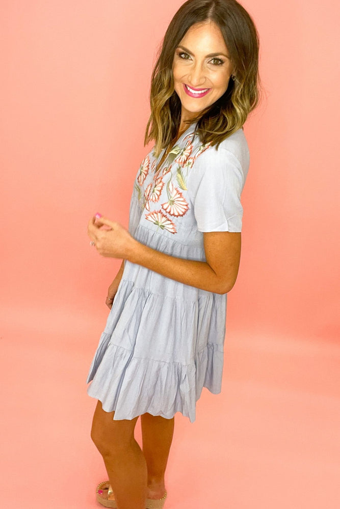 dusty blue short sleeve dress with embroidery, spring dresses, beach attire, affordable style, shop style your senses by mallory fitzsimmons