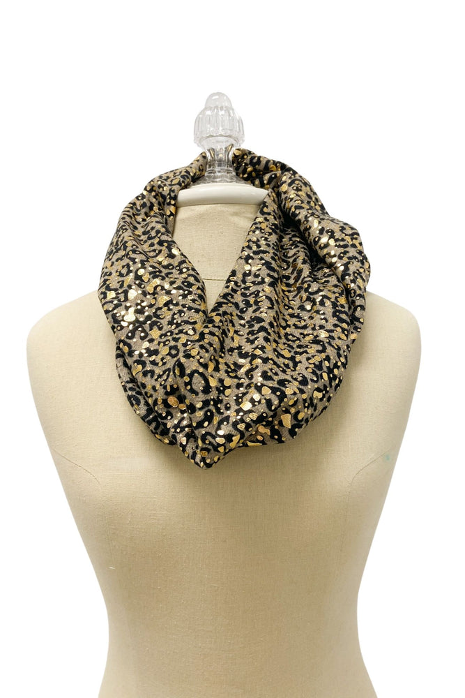 Metallic Animal Print Infinity Scarf