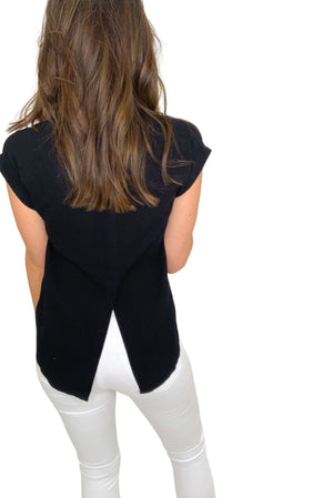 black cap sleeve button down top, white skinny jeans, spring tops, shop style your senses by mallory fitzsimmons