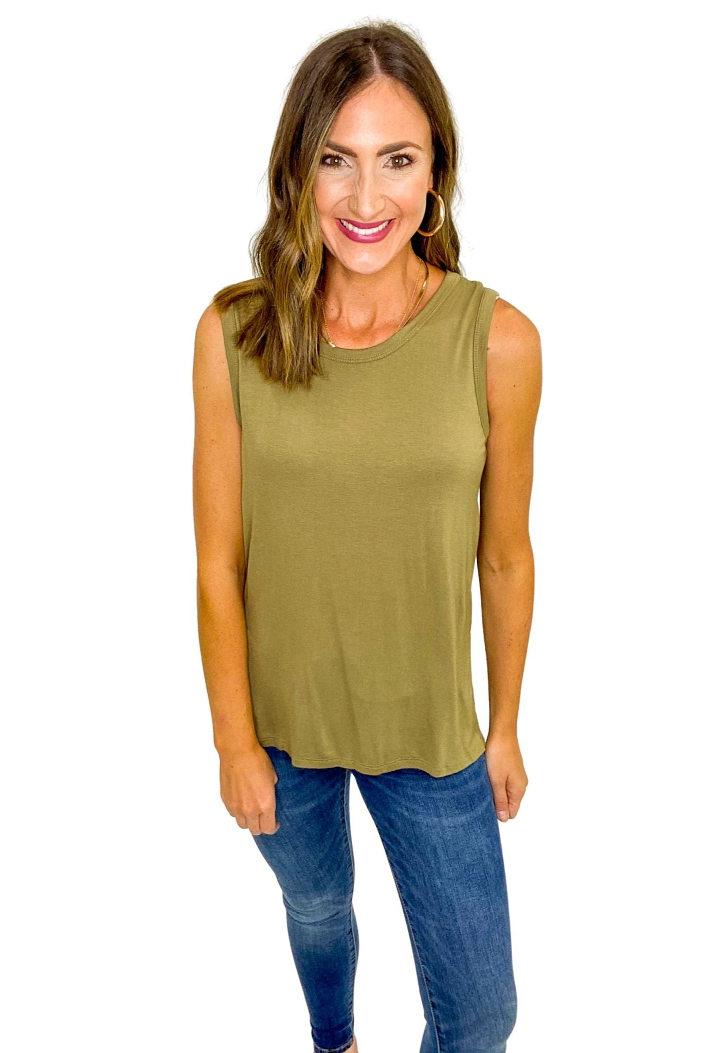 Olive Sleeveless Side Slitted Knit Top