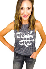 Grey Rock and Roll Animal Print Graphic Tank