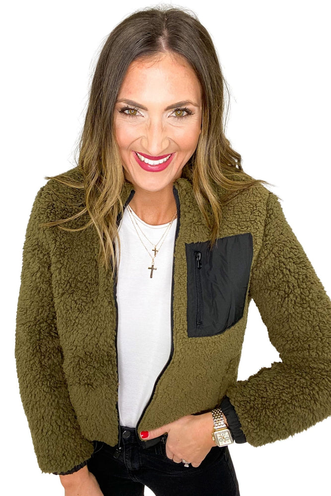 Load image into Gallery viewer, Reversible Olive Sherpa Jacket