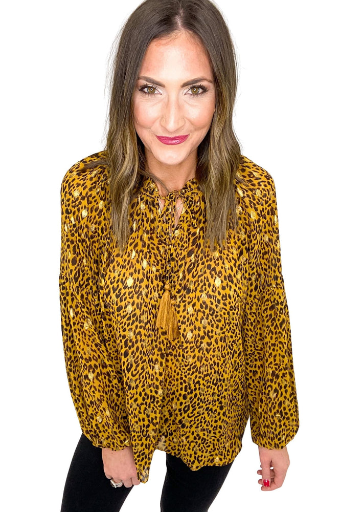Long Sleeve Animal Print Top w/ Gold Foil Details *FINAL SALE*