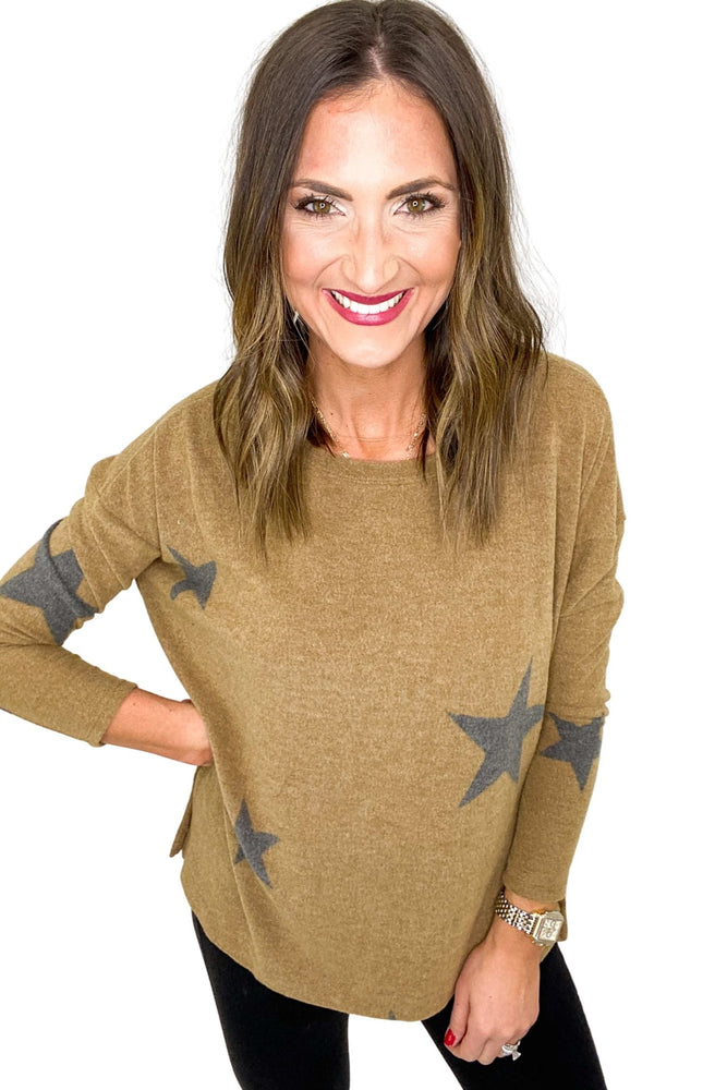 Mocha Cozy Long Sleeve Star Top