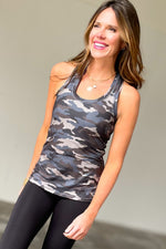 grey and blue camo print butter racerback tank, stylish athleisure, fitness fashion, shop style your senses by mallory fitzsimmons
