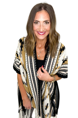 Neutral Aztec Cardigan w/ Fringe *FINAL SALE*