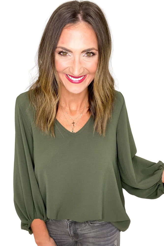 Olive Balloon Sleeve V Neck Top