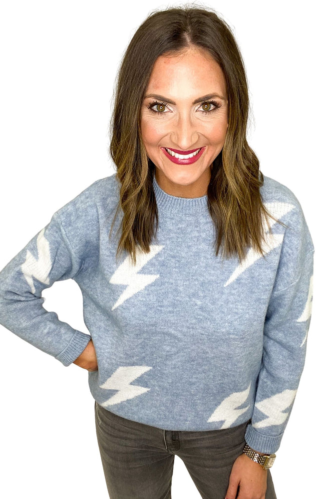 Light Blue Lightning Bolt Pullover