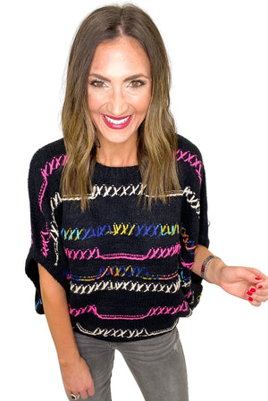 Black Chunky Knit Sweater w/ Colorful Threading