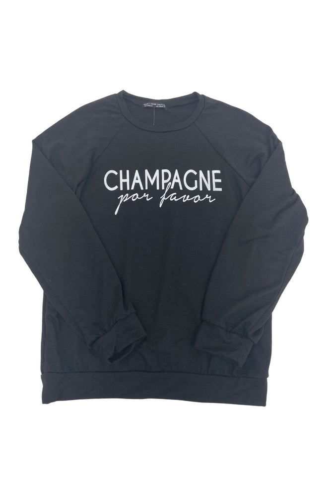 "Black ""Champagne Por Favor"" Sweatshirt"