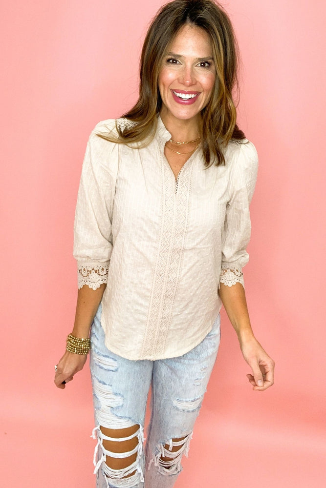 beige textured 3/4 sleeve top with lace inset, distressed jeans, work to weekend, fashion forward, spring tops, shop style your senses by mallory fitzsimmons