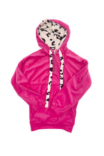 Pink Pullover Hoodie w/ Animal Print Drawstrings