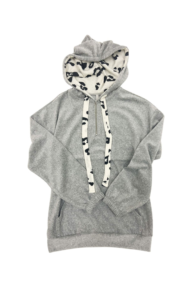 Heather Grey Pullover Hoodie w/ Animal Print Drawstrings