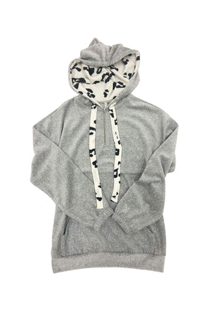 Load image into Gallery viewer, Heather Grey Pullover Hoodie w/ Animal Print Drawstrings