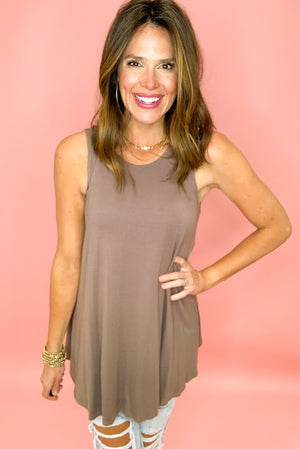 mocha tunic tank, distressed denim, stylish basics, spring tops, shop style your senses by mallory fitzsimmons