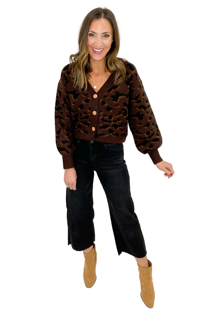 Mocha Animal Print Button Front Sweater