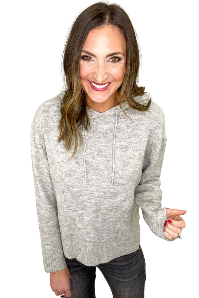 Load image into Gallery viewer, Heather Grey Sweater w/ Hood *FINAL SALE*