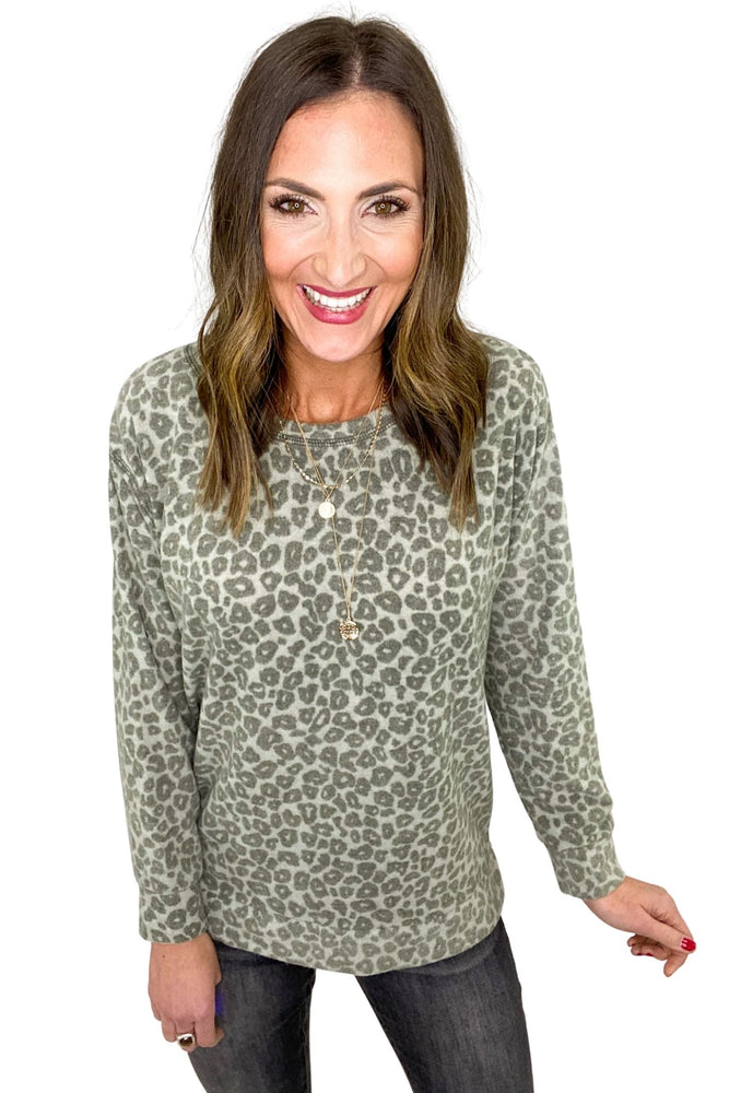 Grey Brushed Animal Print Split Hem top