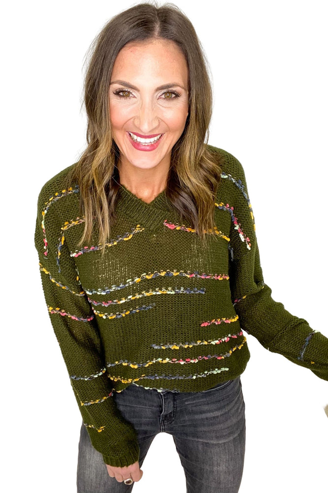 Olive V Neck Sweater w/ Colorful Threading