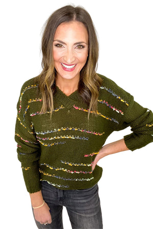 Load image into Gallery viewer, Olive V Neck Sweater w/ Colorful Threading