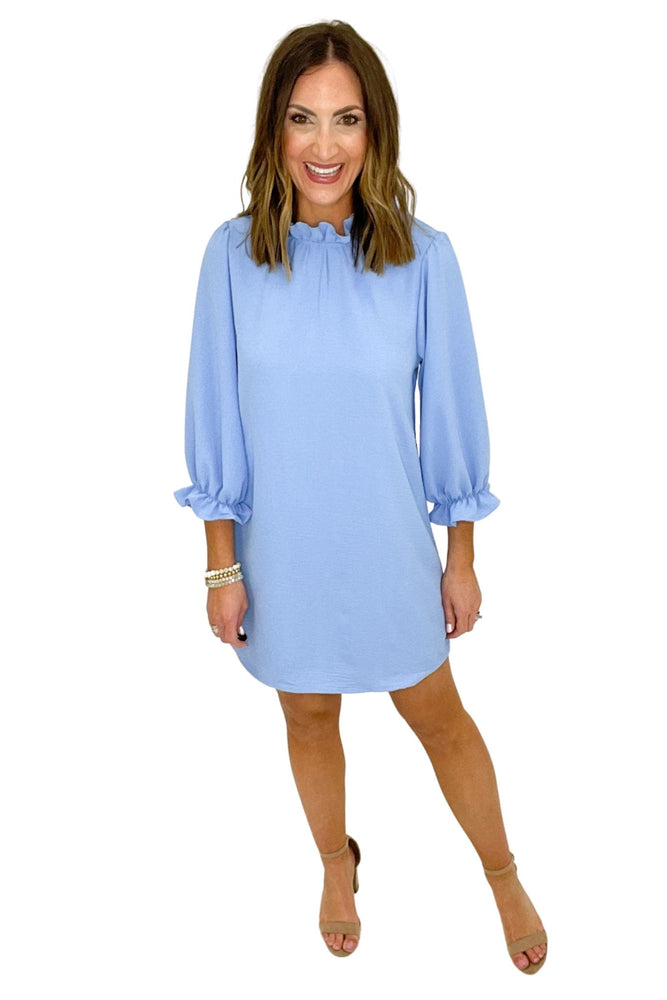 light blue ruffle neck 3/4 sleeve dress, spring dresses, shop style your senses by mallory fitzsimmons
