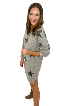 Load image into Gallery viewer, Heather Grey Star Print Sweater Dress