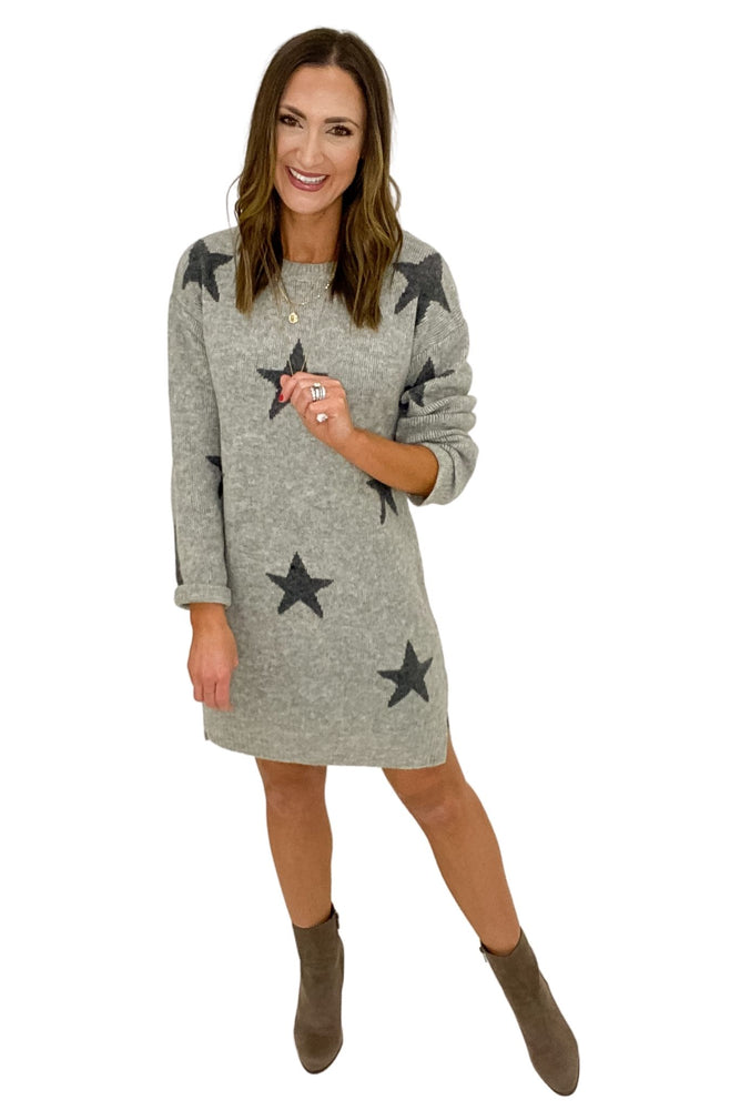 Heather Grey Star Print Sweater Dress