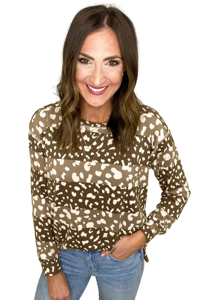 Mocha Animal Print Stripe Top