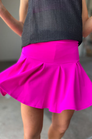 Load image into Gallery viewer, pink pleated skort, athleisure, tennis skirt, pink skort, skorts, mom style, activewear, shop style your senses by mallory fitzsimmons