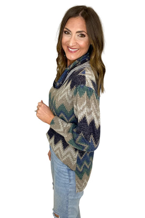 Load image into Gallery viewer, Blue Zig Zag Cowl Neck Top *FINAL SALE*