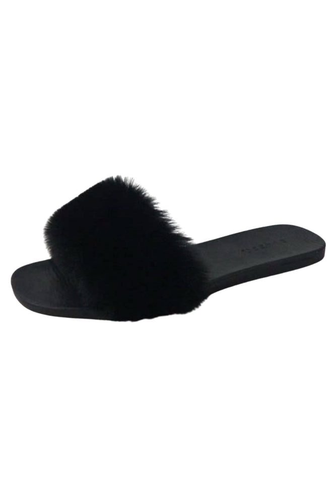 Black Faux Fur Slides *FINAL SALE*