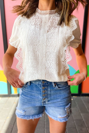 ivory crochet overlay top, button front denim shorts, spring tops, trendy outfits, shop style your senses by mallory fitzsimmons